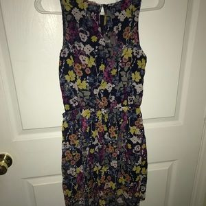 high-low, floral-patterned dress